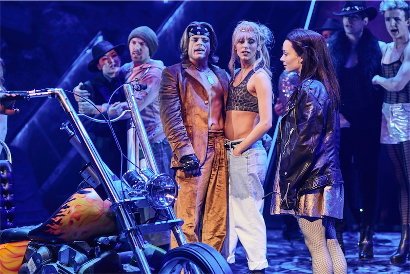 LtoR Giovanni Spano as Ledoux, Amy Di Bartolomeo & Christina Bennington as Raven in BAT OUT OF HELL - THE MUSICAL, credit Specular