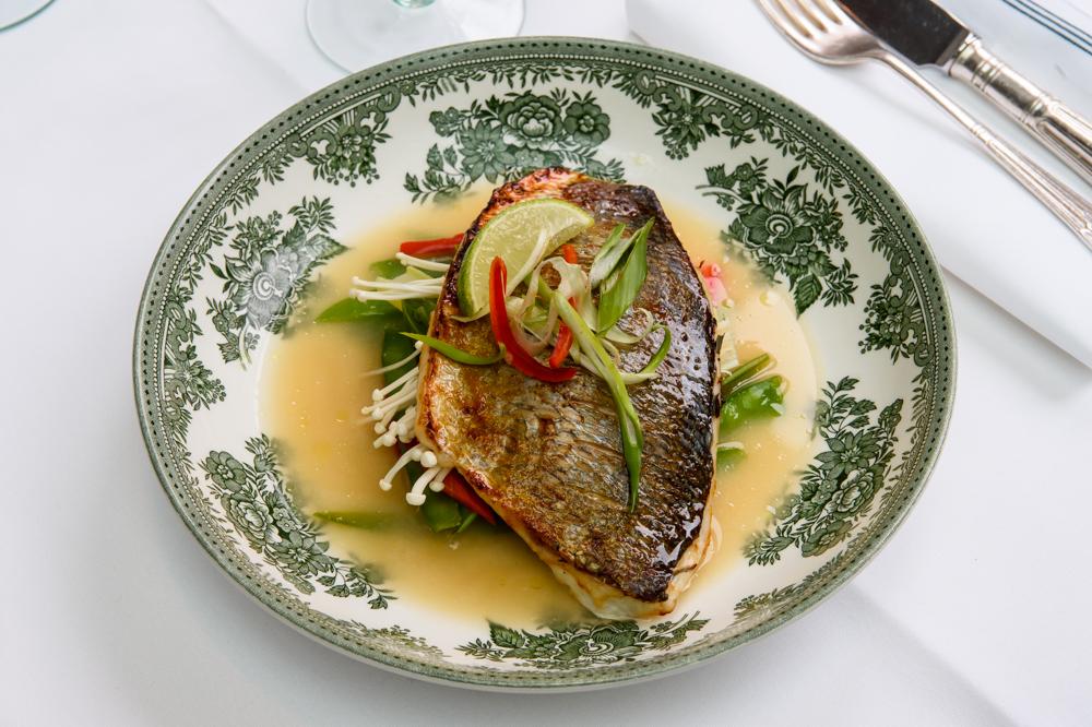 Miso roasted sea bream, bok choy, mange tout and enoki mushroom broth - American Bar Restaurant, London Coliseum © Karen Hatch