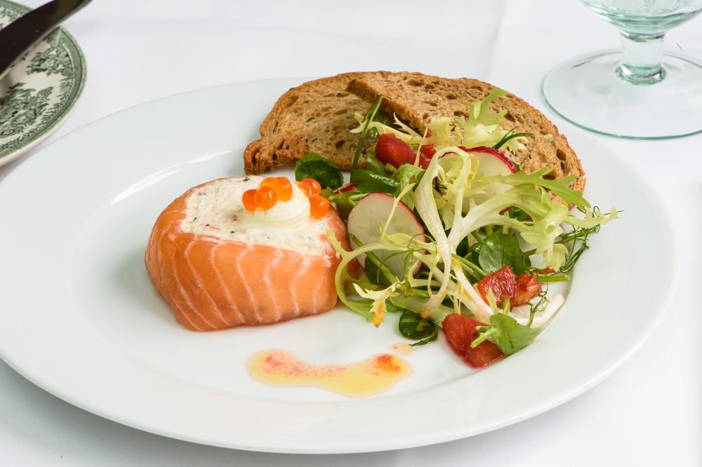 Smoked salmon and Cornish crab parcel, crème fraiche, caviar, orange reduction; American Bar Restaurant, London Coliseum © Karen Hatch