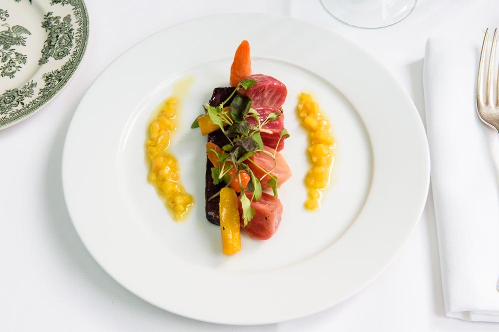 Baked candied beetroot and heritage carrots, mango chutney dressing; American Bar Restaurant, London Coliseum © Karen Hatch